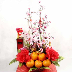 6 oranges with Artificial new year Flowers Basket Arrangement