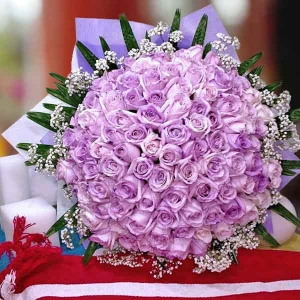 99 Purple Roses Hand Bouquet