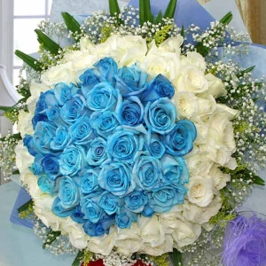 99 Roses ( 50 Blue 49 White ) Handbouquet (Kindly order 1 day in