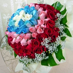 99 Roses ( 5white20blue33Peach41red ) Hand bouquet