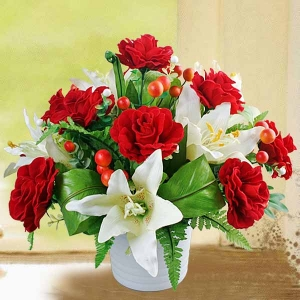 Artificial Lilies with Red Roses Arrangement