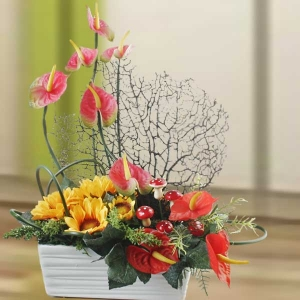 Artificial Anthurium & Sunflower Table Arrangement.