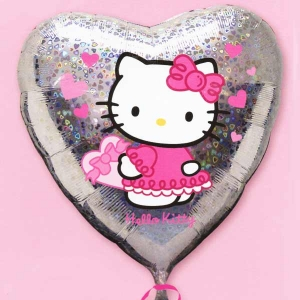 "Add-on 18"" Hello Kitty Holographic Heart Shape Floating Balloon"