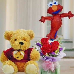 8 Inches Teddy Bear In Red Sweater and Elmo Balloon