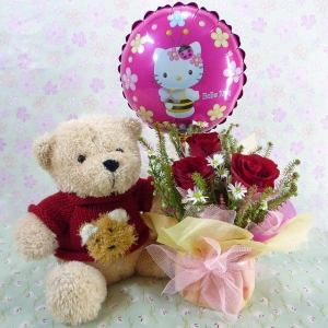 9 Inches Teddy Bear In Red Sweater and Hello Kitty Balloon...