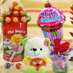 18cm Bear, Lollipop Candies With Roses & Birthday Balloon