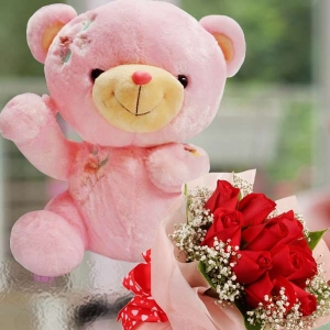 Red Roses Posy With 30cm Pink Bear