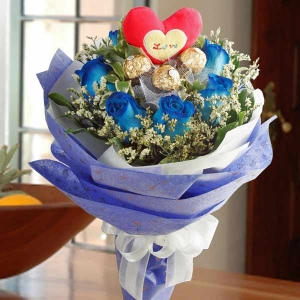 8 Blue Roses with 3 Ferrero Rocher and heart-shape Tag at center