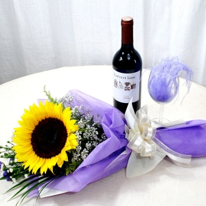 Sunflower Bouquet with Red Wine