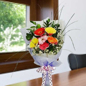 6 Mixed Color Gerbera Hand Bouquet