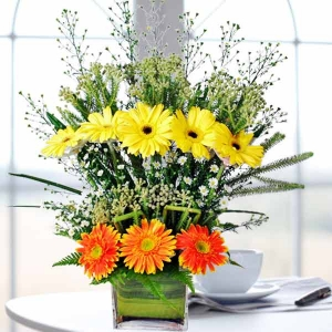 5 Yellow 3 Orange Gerbera In Glass Vase