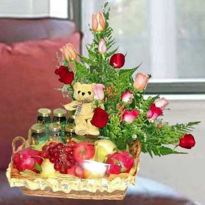 12 Mixed Roses & 6 Chicken Essence with Bear & Fruits Basket