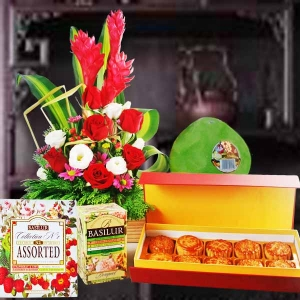 Ceylon Tea, Pomelo, Moon Cake & Fresh Flowers Arrangement