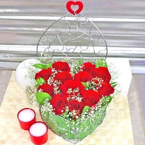 12 Red Roses with Heart Shape Metal Wired Container