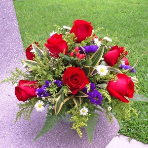 12 Red Roses All-Round Table Arrangement