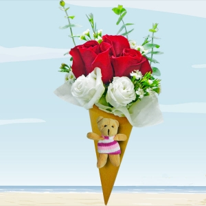 Ice Cream Cone 3 Red Roses Bouquet With Mini Bear.