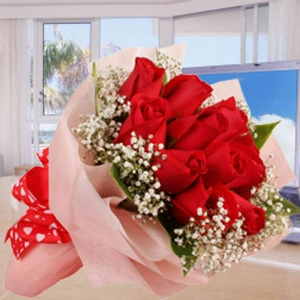 12 Red Roses Posy With Baby Breath