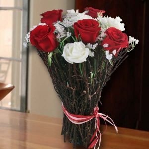 5 Red Roses with Artificial White Roses Standing Bouquet