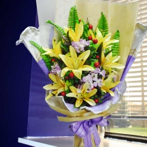 Artificial Yellow Lilies & Roses Hand bouquet.
