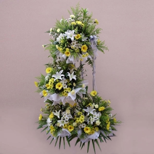White lily and yellow gerbera 3 tiers