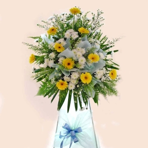 Yellow gerbera arrangement 6 ' height