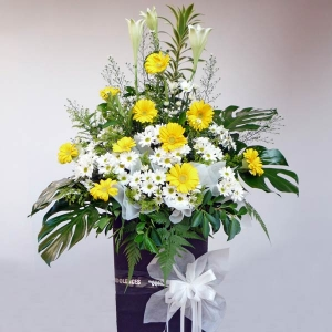 Lily White & Yellow Gerbera On Standing Box 6' Height