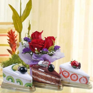 3 (Cakes Slice Made By Towels) & 3 red roses