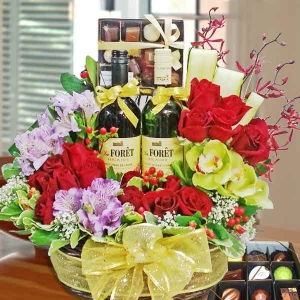 Wines, Chocolates & Red Roses Basket Arrangement