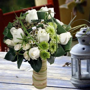 6 White Roses Small Special Standing Bouquet