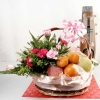 Fresh Flowers & Fruits Basket Arrangement For Chinese New Year