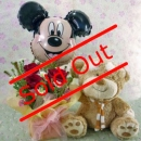 8 Inches Bear and Mickey Balloon with 3 Red Roses...