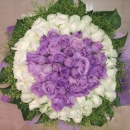 99 Roses ( 49 Purple 50 White ) Handbouquet