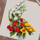 Artificial Sunflower & Red Roses Arrangement.
