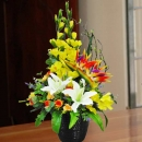 Artificial Gladiolus & White Lilies Arrangement