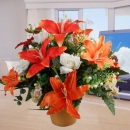 Artificial Orange Lilies & White Roses Table Arrangement