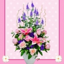Artificial Pink Lilies & Roses Flowers Table Arrangement Delivery.