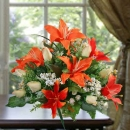 Artificial Orange Lilies centerpiece Table Arrangement delivery By singapore Florist