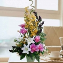 Artificial Purple Orchids & Lilies Table Arrangement