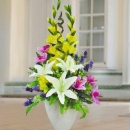 White Lily & Orchid Tall Arrangement About 75cm Height