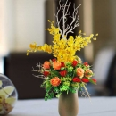 Artificial Orange Roses With Dancing Orchids