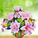 Artificial Pink Roses & Lilies Flowers Table Arrangement