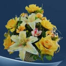 Artificial Yellow Roses & Lilies Flowers Table Arrangement