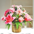 Pink Lily and Roses All-Round Artificial Flower Arrangement