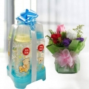 4 Designer Blue Bottle 8oz & Roses Delivery