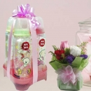 4 Designer Bottle 8oz & Roses Delivery
