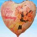 "Add-On 18"" Helium Filled (Happy Anniversary) Mylar Floating Balloon"