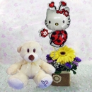 6 Inches Bear and a Hello Kitty Balloon with Yellow Gerbera...