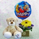 6 Inches Bear and a Mickey Balloon with Yellow Gerbera