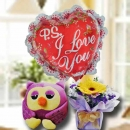 15cm OWL Soft Toy With Gerbera Standing Bouquet & i Love You Balloon