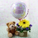 6 Inches Bear and a Balloon with Yellow Gerbera...